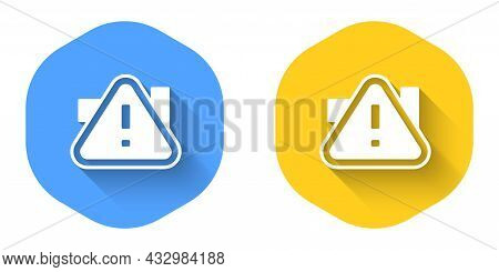 White Exclamation Mark In Triangle Icon Isolated With Long Shadow Background. Hazard Warning Sign, C