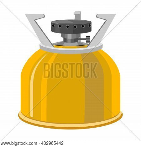 Camping Stove Vector Cartoon Icon. Vector Illustration Furnace Travel On White Background. Isolated