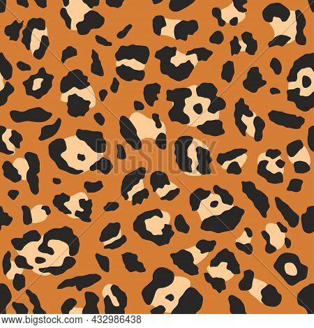 Leopard Pattern. Trendy Seamless Vector Texture. Animal Print. Black Spots On Orange Background. Che