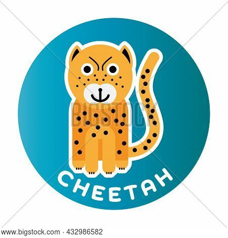 Happy Cheetah - Funny Cartoon Animal. Children Character. Simple Vector Illustration With Dropped Sh