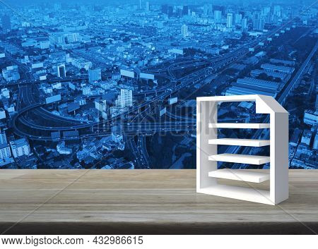 Document 3d Icon On Wooden Table Over Modern City Tower, Street, Expressway And Skyscraper, Technolo