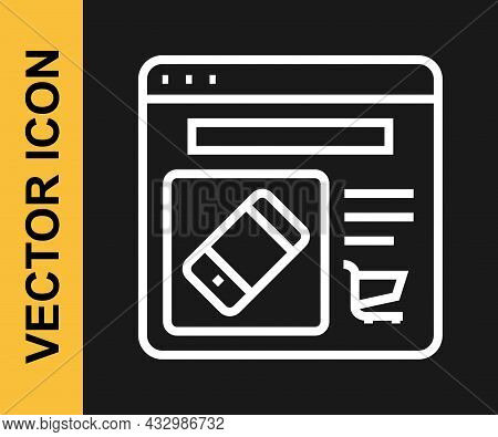 White Line Online Shopping On Screen Icon Isolated On Black Background. Concept E-commerce, E-busine