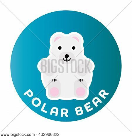 Happy Polar Bear - Funny Cartoon Animal. Children Character. Simple Vector Illustration With Dropped