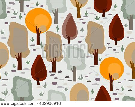 Autumn Trees Seamless Pattern Background. Thanksgiving Fall Autumn Vector Background For Wall Paper,