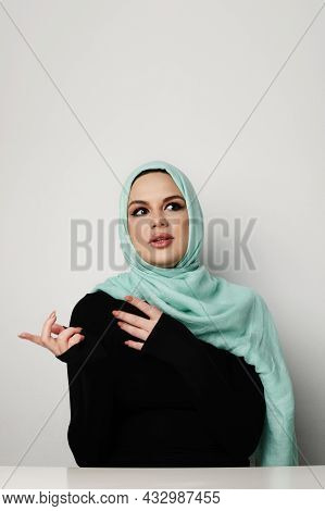 Arabian Woman With Happy Smile, Isolated On White Wall.