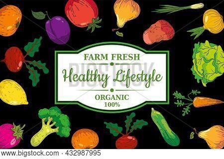 Healthy Lifestyle Farm Fresh Organic Vegatables Anf Fruits Design Poster. Hand Drawn Doodles Illustr