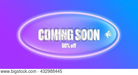 Coming Soon Banner Or Button On Purple Modern Background. Coming Soon Sign Isolated On Violet Layout