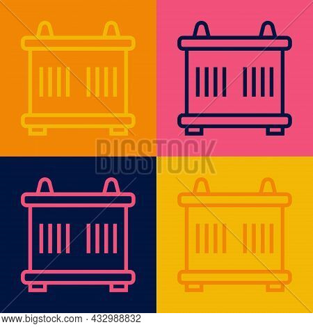 Pop Art Line Container Icon Isolated On Color Background. Crane Lifts A Container With Cargo. Vector