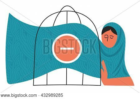 Gender Violence Concept Woman Locked In A Cage. International Day For The Elimination Of Violence Ag