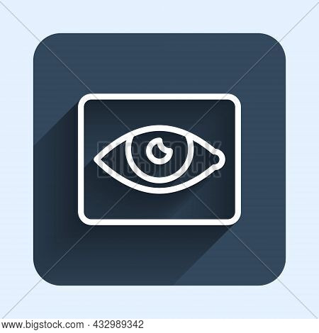 White Line Red Eye Effect Icon Isolated With Long Shadow Background. Eye Redness Sign. Inflammatory