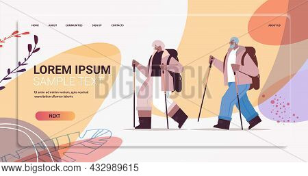 Senior Woman Man Hikers Traveling With Backpacks And Sticks For Walk Nordic Walking Active Old Age C