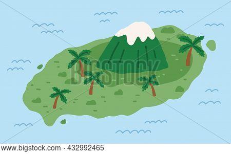 High Mountain Peak On Remote Korean Island With Palm Trees. Jeju Do Landmark In Korea. Land And Hall