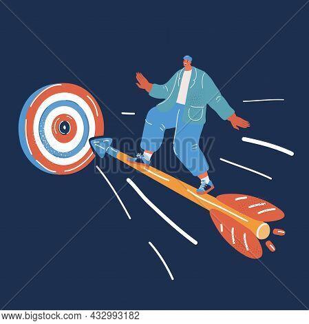Vector Illustration Of Businessman Ride On Arrow To Aim. Purposefulness Concept Over Dark Backround