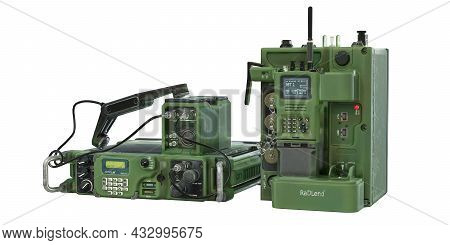 Old Military Radio Station. Radio System Receiver-transmitter And Walkie-talkie. The Color Is Green,