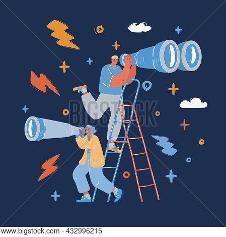 Vector Illustration Of Businessman Looking Through Binocular And Smiling Over Dark Backround.