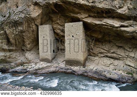 Ushkaloye Towers On The Argun River. Republic Of Chechnya. Russia. Caucasus. Cultural Heritage Monum