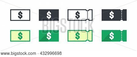 Dollar Money Sign. Dollar Coupon. Sign Of Payment By The Dollar. Vector Illustration