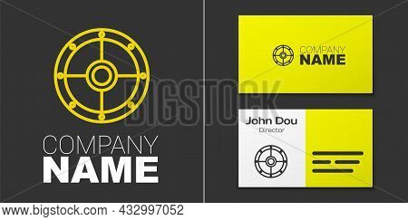 Logotype Line Round Wooden Shield Icon Isolated On Grey Background. Security, Safety, Protection, Pr