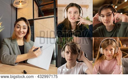 Collage. Group Of Kids, Students Studying By Group Video Call, Use Video Conference With Each Other