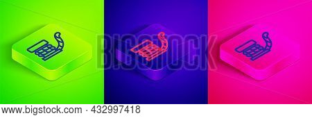 Isometric Line Marine Bollard With Rope Tied On Pier Icon Isolated On Green, Blue And Pink Backgroun