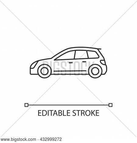 Hatchback Linear Icon. Cheap Sports Car. Auto With Two-box Design. Access To Cargo Area. Thin Line C