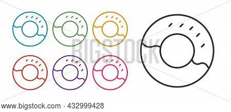 Set Line Donut With Sweet Glaze Icon Isolated On White Background. Set Icons Colorful. Vector
