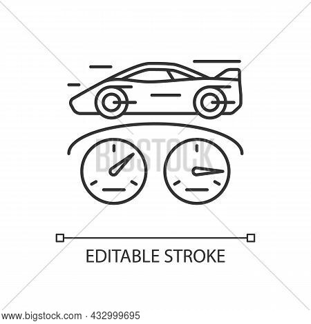 Top Speed Linear Icon. Sports Car Racing. Detecting Vehicle Speed. Professional Automobile Sport. Th