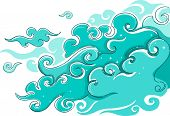 Illustration of Swirly Light Blue Clouds with sparkling stars poster