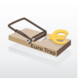 Mousetrap with euro money vector illustration