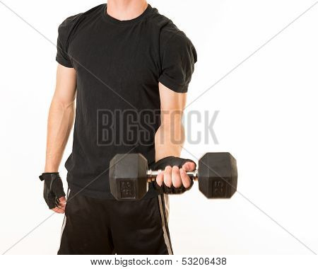Young adult exercising with a 25 pounds weight. Healthy lifestyle. Fitness and strengh of a teenager. Physical preparation for the future. poster