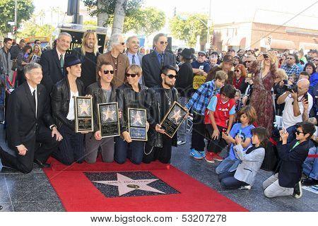 LOS ANGELES - OCT 30: Taylor Hawkins, John Densmore, John Doe, Perry Farrell, Dave Navarro, Stephen Perkins, Chris Chaney as 'Jane's Addiction' got a star on October 30, 2013 in Los Angeles, CA