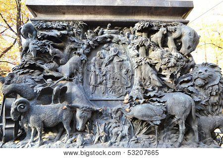 Bas-relief On Krylov Monument In Summer Garden