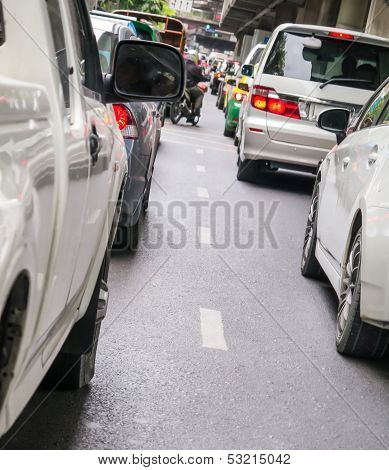 Car Queue In The Bad Traffic Road