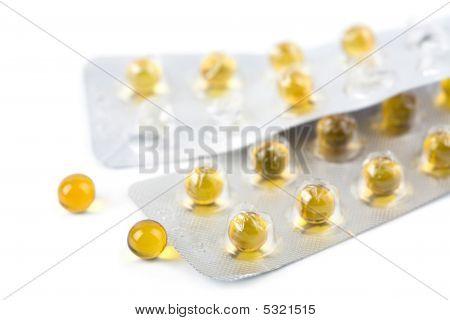Yellow Pills Isolated