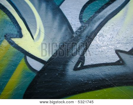 Glossy green graffiti style design on concrete wall poster