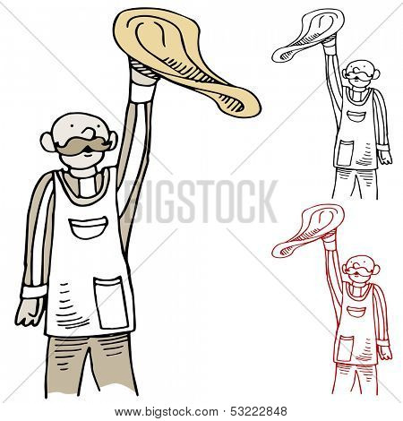 An image of a cook tossing pizza dough.
