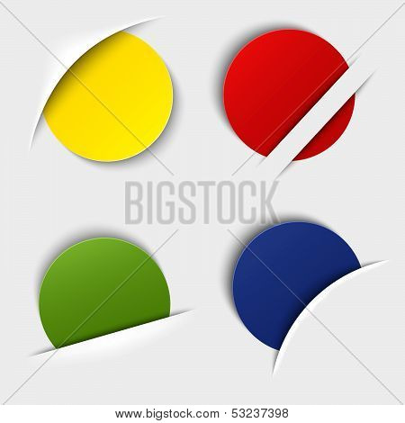 Set of colorful blank round labels in your pocket