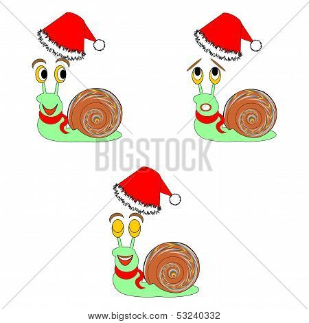 Funny Christmas Snails With Different Facial Expressions