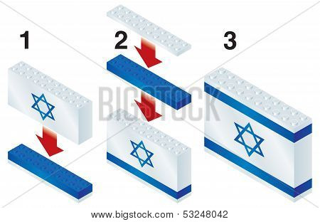 Building blocks making Israeli flag