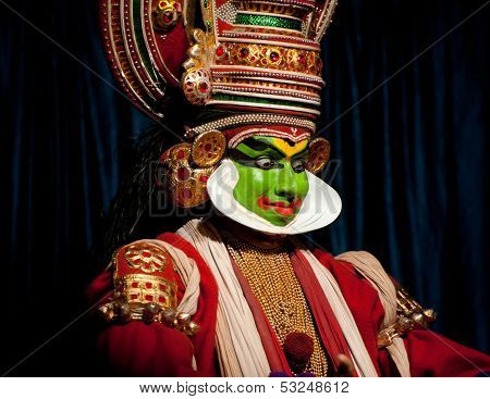 Thekkady , India - February 19 : Indian Actor Performing Traditional Dance Drama Kathakali On Februa