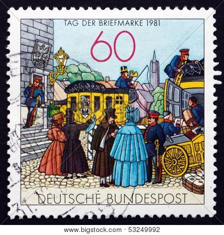 Postage Stamp Germany 1981 People By Mail Coach, Lithograph