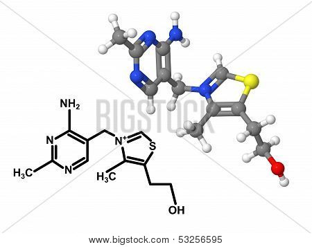 Vitamin B1 Molecule With Chemical Formula