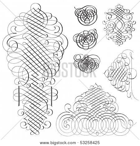 Vector fancy swirl ornament set. Great for invitations and announcements.