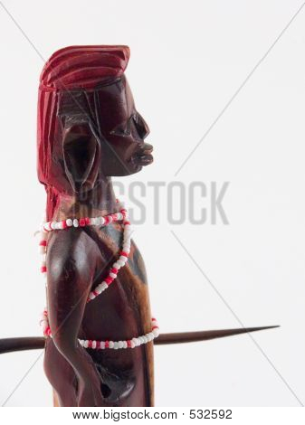 Wooden statue of an African warrior
