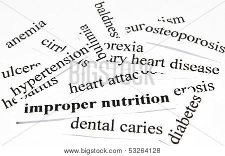 Health Care Concept Of Diseases Caused By Unhealthy Nutrition