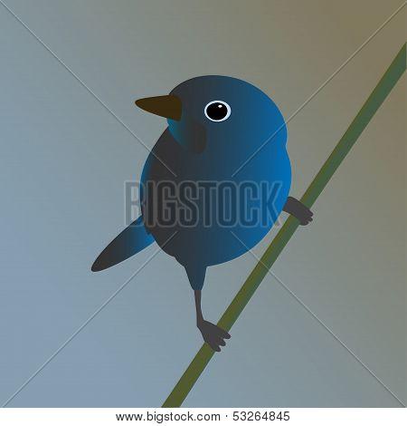 Blue bird on a branch. Vector illustration