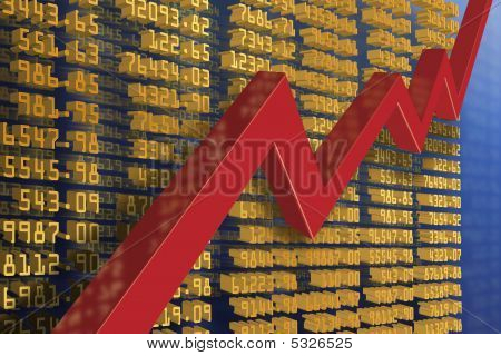 illustration of stock chart und economic recovery poster