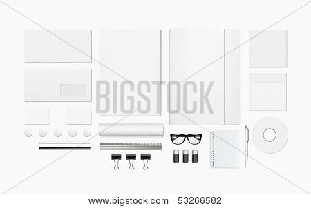 Blank Stationery Set Isolated On White