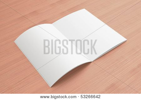 Blank Opened Magazine On The Wooden Background