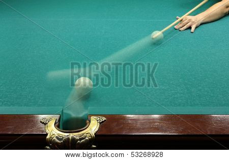 Russian billard play, ball and cue